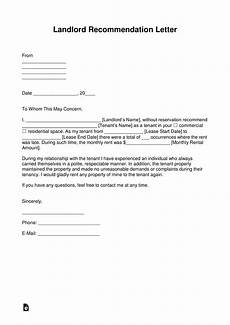Tenant Letter Of Recommendation Free Landlord Recommendation Letter For A Tenant With