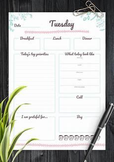 Weekly Day Planner Printable Download Printable 7 Days Weekly Planner Pdf