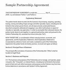 Simple Partnership Agreement Free 15 Sample Partnership Agreement Templates In Pdf