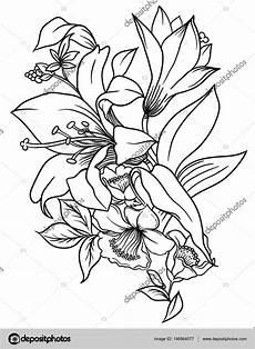 fiori da disegnare un mazzo di fiori decorati con foglie ed erba disegno