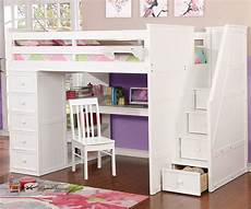 multifunction size loft bed with desk in white