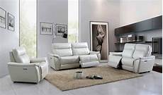 light grey top grain leather electric recliner sofa set