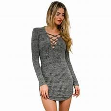 knitting dress v neck sleeve sweater dress lace