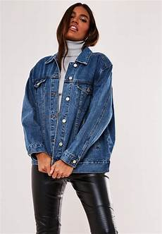 sleeve vest blue oversized denim jacket missguided