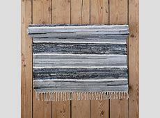 Striped blue grey and white cotton floor runner and large rug   Skandihome