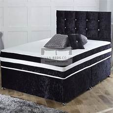 richard crushed velvet divan bed with orthopaedic