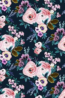 Navy Floral Iphone Wallpaper by Floral Moody By Crystal Walen Painted