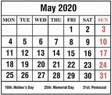 Printable May 2020 Calendar With Holidays May 2020 1
