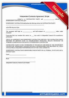 Simple Contractor Agreement Template Free Printable Independent Contractor Agreement Simple
