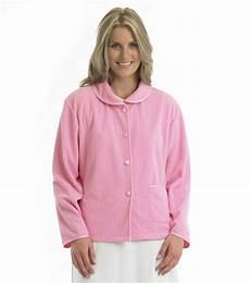 slenderella soft fleece button up bed jacket cable