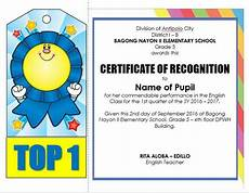 Certificate Of Recognition For Honor Students Editable Quarterly Awards Certificate Template Deped