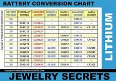 Bulova Watch Battery Chart Watch Battery Cell Conversion Chart Jewelry Secrets