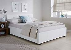 side lift ottoman storage bed frame in white faux