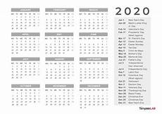 2020 Us Calendar Printable 2020 Printable Calendars Monthly With Holidays Yearly