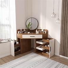 corner makeup vanity with drawer side cabinet