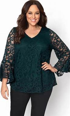 plus size sleeve lace top lace trumpet sleeve top