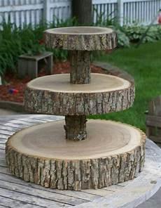 3 tier tree slice large cupcake stand primitive tree