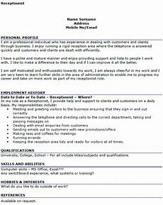 Cv For Receptionist Position Receptionist Cv Example Icover Org Uk