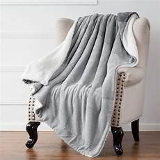 sherpa throw blanket lt grey 50x60 reversible