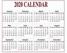 Download Yearly Calendar 2020 Calendar 2020 Pdf For Mark Your Daily Class Calendar