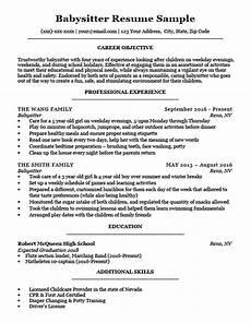 Babysitter Cv Example Babysitter Resume Sample Amp Writing Tips Resume Companion