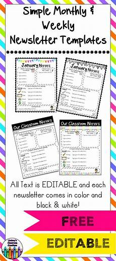 Monthly Newsletter Templates Editable Classroom Newsletter Templates Color Amp Black