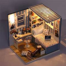 china room diy doll house miniature model with light
