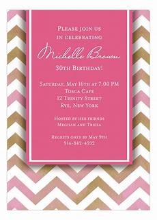 Pink Invitations Chevron Pink 30th Birthday Invitations Customizable