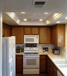What Size Recessed Lights For Small Kitchen Subtle Tray Ceiling Lighting Ideas In 2020 Kitchen