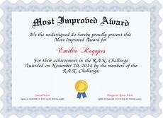 Most Improved Award Most Improved Award Certificate Created With