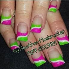 Light Pink And Green Nails Lime Green White And Pink Gel Nails Www Facebook Com