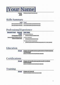 Easy Resume Template Word Free Blank Resume Templates For Microsoft Word Ipasphoto