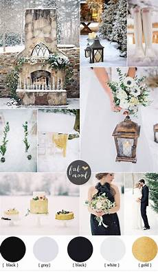 outdoor winter wedding black and gold wedding colors