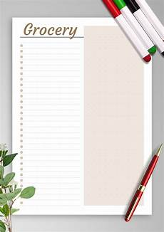 Easy Shopping List Template Download Printable Simple Grocery List Template Pdf