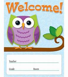 Welcome Chart For Classroom Colorful Owls Welcome Chart Grade Pk 8 Carson Dellosa