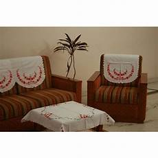 Sofa Back Cover Protector 3d Image by Cotton White Embroidered Sofa Back Cover Rs 675 Set