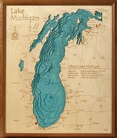 Lesser Lake Depth Chart Lake Michigan Water Depths Wall Lake Art Topographic