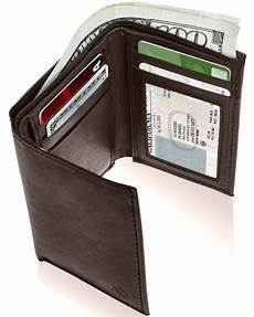 tri fold windows access denied genuine leather trifold wallets for men