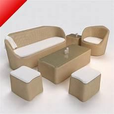 Welpatio Rattan Sofa 3d Image by 3d Model Rattan Lounge Sofa Set With Stool C4d Obj 3ds
