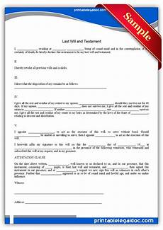 Free Downloadable Will Forms Free Printable Last Will And Testamant Simple Form Generic
