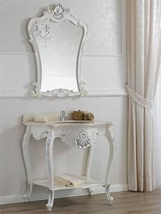 console per da letto consolle lavabo e specchio stile barocco moderno bianco