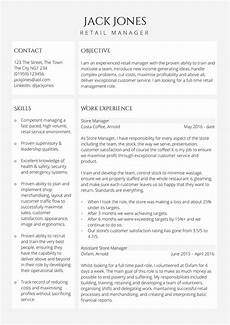 Cv Of Store Manager Retail Manager Cv Template Free Uk Example In Word