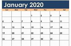 microsoft calendar templates 2020 free january calendar 2020 printable template blank in pdf