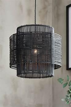 Black Rattan Ceiling Light Next Kai Rattan Easy Fit Shade Black In 2020 Hanging