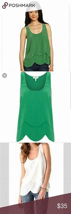 joie silk blouse layering joie silk scalloped green tank ruffle layered green tank