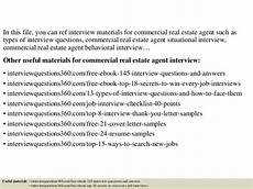 Real Interview Questions And Answers Top 10 Commercial Real Estate Agent Interview Questions