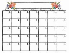 Blank Fillable Calendar Monthly Calendars Kkeeler