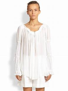 white peasant blouse michael kors crepe peasant blouse in white lyst