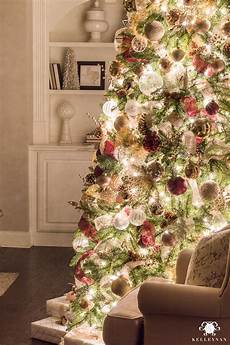 Christmas Tree With White Lights Nighttime Christmas Home Tour With Magical Glowing