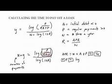 Time To Pay Off Loan Calculator Time To Pay Formula Youtube